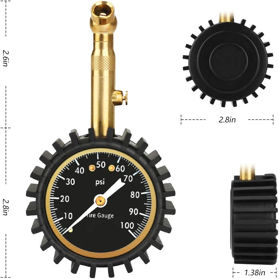 Number-one Car Tire Pressure Gauge 0-100 PSI Heavy Duty Tire Gauge Accurate and Easy to Read Glow Dial Tire Gauge for Car and Trucks Tires Low and High Air Pressure Gauge