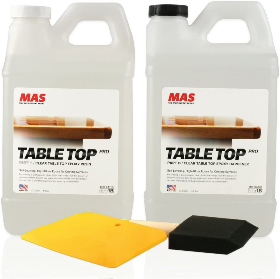 Crystal Clear Epoxy Resin One Gallon Kit | MAS Table Top Pro Epoxy Resin & Hardener | Two Part Kit for Wood Tabletop, Bar Top, Resin Art | Set Includes Spreader & Brush | Professional Grade Coating