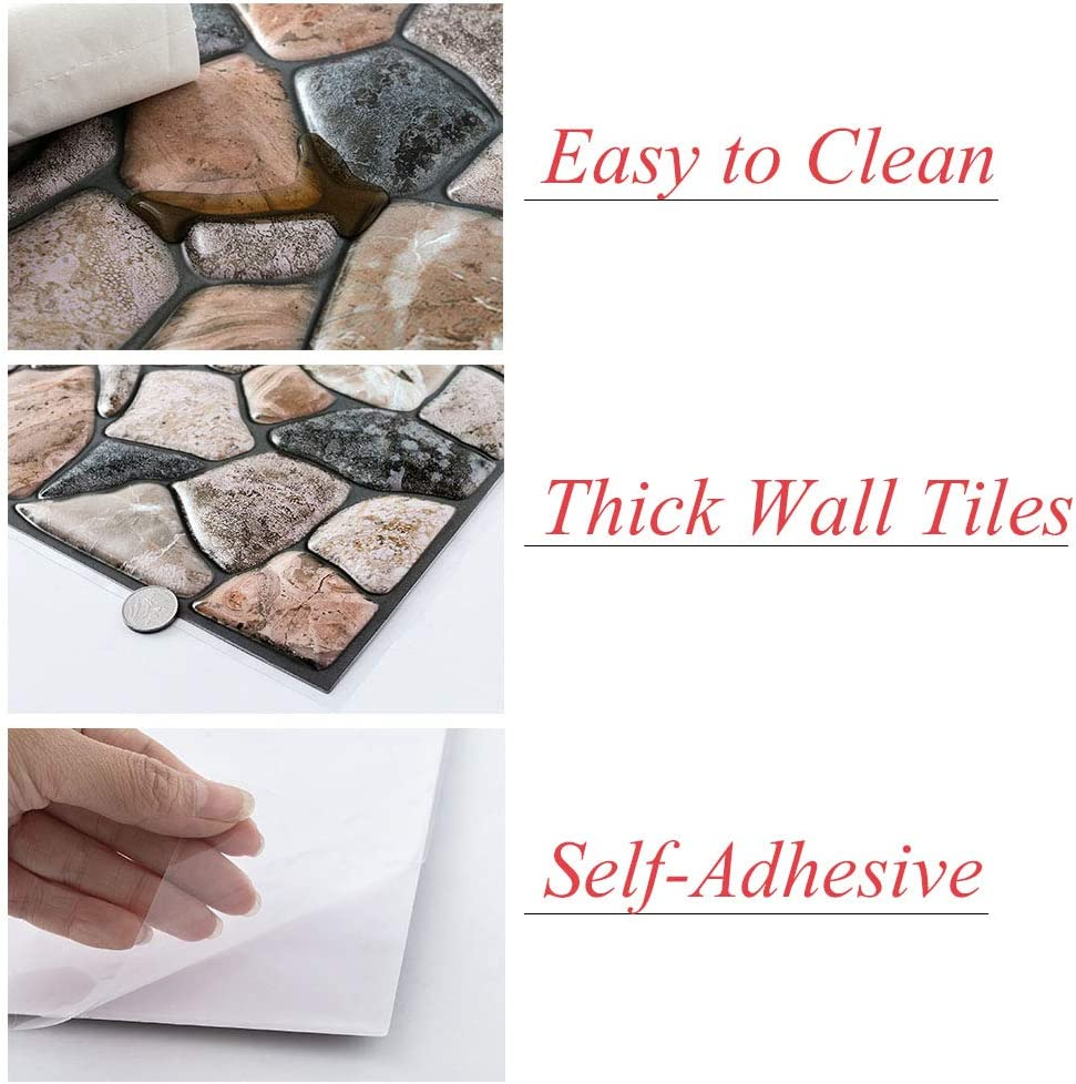 6 Tiles 3D Square Marble Wall Tiles Self Adhesive Indoor Backsplash Easy Peel and Stick Durable Wall Panels for Kitchen//Bathroom//Living Room//Bedroom