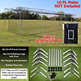 Select #24 - 30', 40', 50', and 60' Batting Cages & Frame Corners with FREE 4'x6' Heavy Vinyl Backstop