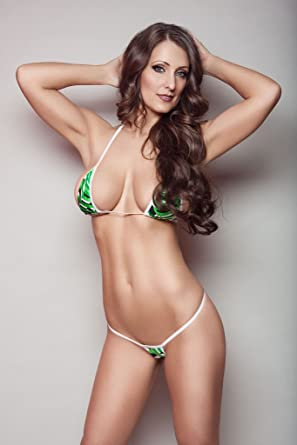 f1cd513434 Amazon.com  Green Stripes Sexy Micro G-String Bikini 2pc Mini Thong Small  Top Exotic w White  Clothing