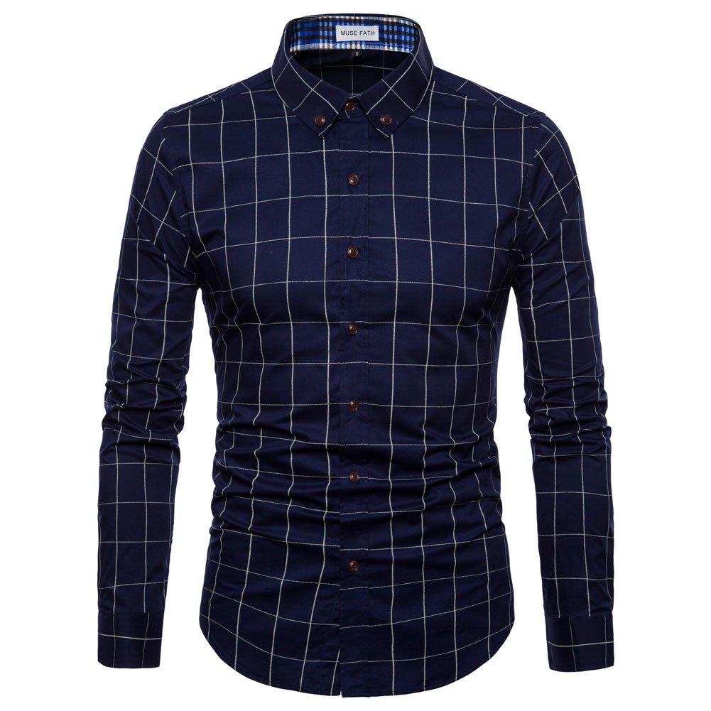 MUSE FATH Mens Long Sleeve Plaid Classic Shirt-Easycare 100% Cotton Shirt