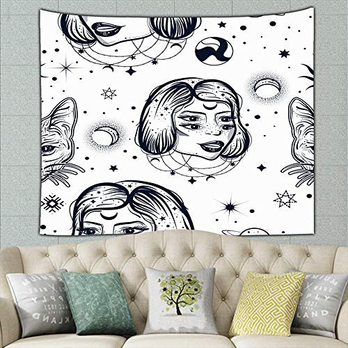 ong8 Dark Witchy Tatto Art Vintage Illustration Mural for Bedroom Living Room Dorm Home Décor 50ʺ × 60ʺ