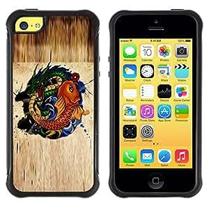 Suave TPU Caso Carcasa de Caucho Funda para Apple Iphone 5C / Gold Fish Dragon Green Nature Fairytale Symbol / STRONG
