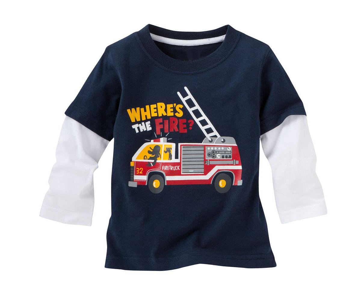 Little Boy Fire-engine Long Sleeved T-Shirt Cotton Clothes 6T