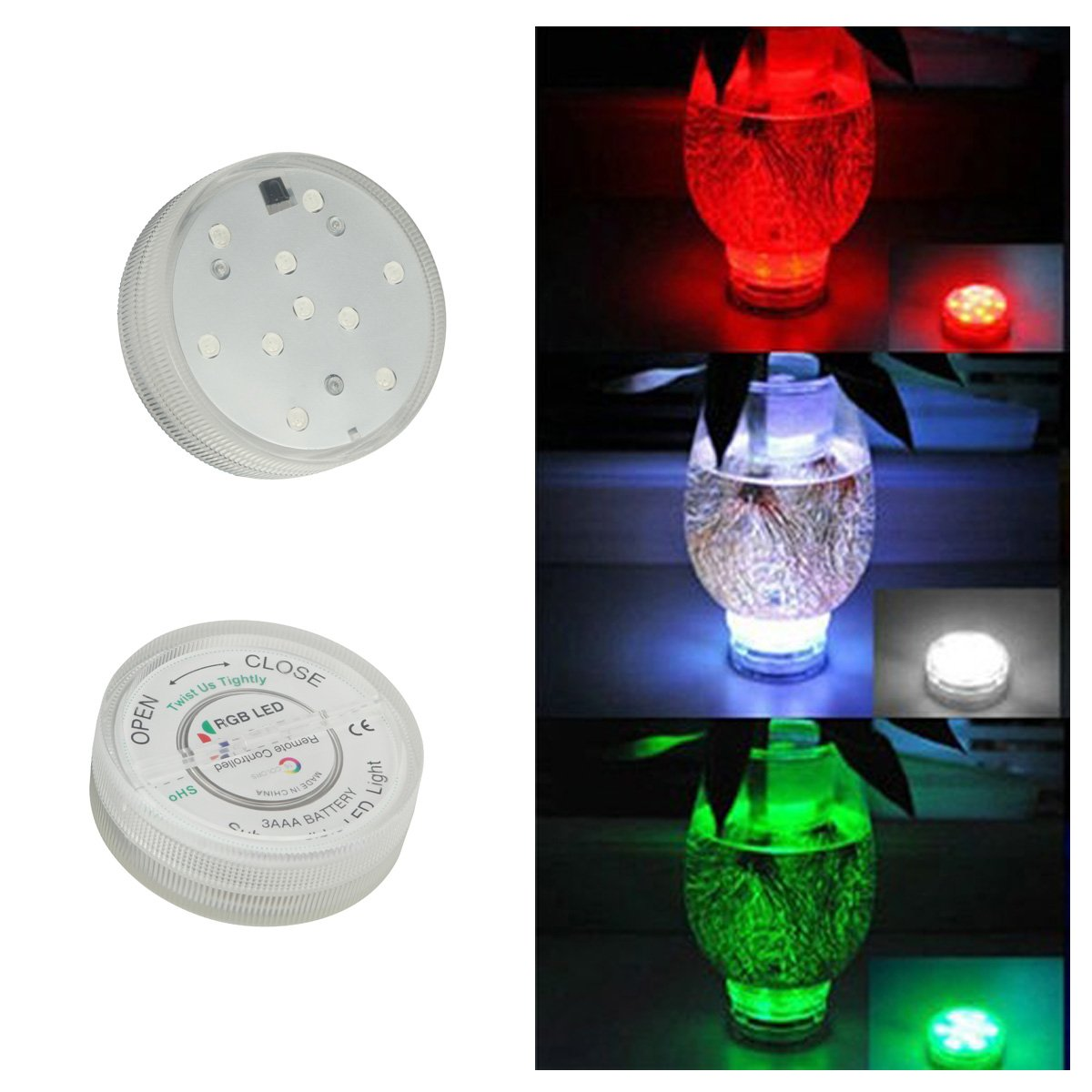 HIOFFER Submersible Led Lights, Multi Color Remote Controlled Submersible LED Lights - 10 LED Controlled Submersible Light, for Aquarium, Pond, Party, Lighting - Round Edge