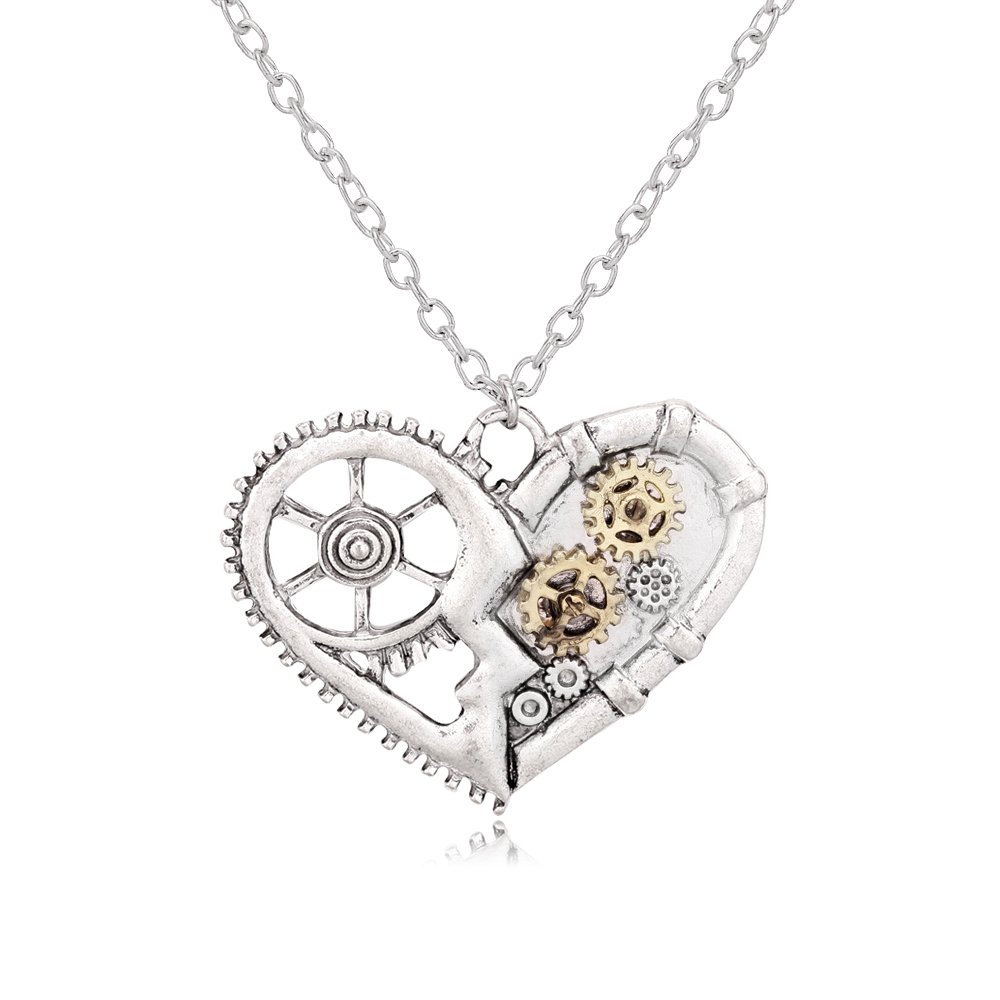 TUSHUO Steampunk Fashion Personality Necklace Punk Butterfly Owl Honeybee Heart Long Chain Necklace (Heart)