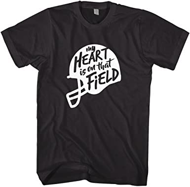 Amazon Com Mixtbrand Men S My Heart Is On The Field Football Helmet T Shirt Clothing