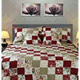 Tache Home Fashion DXJ103186-F Cotton Patchwork Floral Country Cottage Quilt Set, Full, Red/White/Green/Multicolor