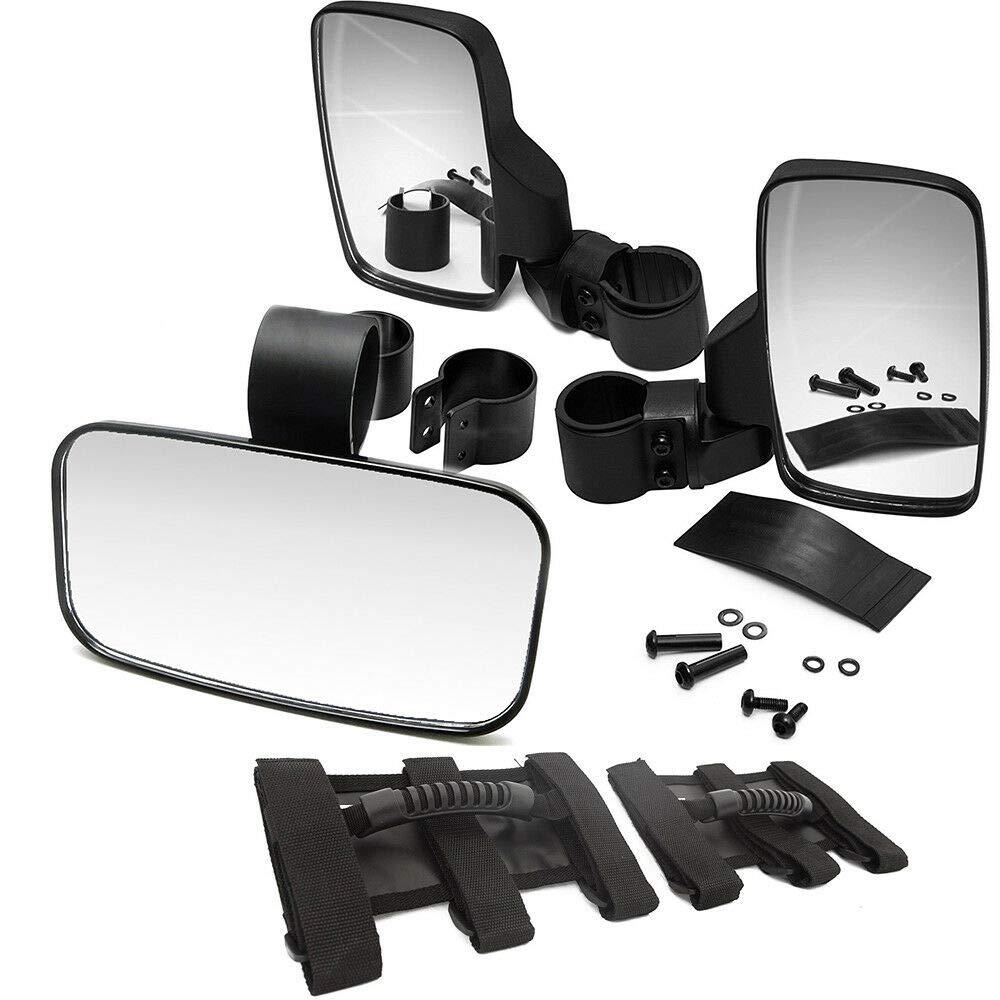 XJMOTO Juego de manijas universales, espejos retrovisores izquierdos con espejo retrovisor para UTV Polaris Arctic Cat Yamaha Kawasaki Honda Can-Am: ...