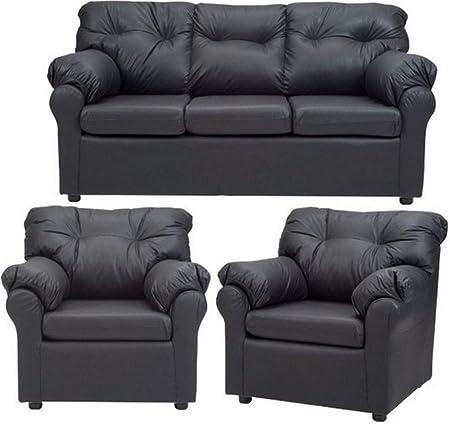 FabHomeDecor Elzada FHD199 Five Seater Sofa 3+2 (Black)