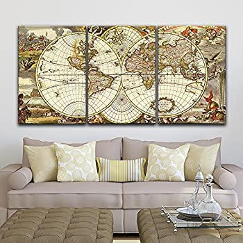 f583d1c7c80 wall26 - 3 Panel Canvas Wall Art - Vintage World Map - Giclee Print Gallery  Wrap Modern Home Decor Ready to Hang - 16