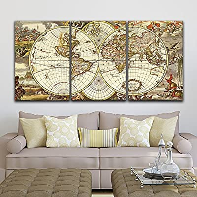 3 Panel Canvas Wall Art - Vintage World Map - Giclee Print Gallery Wrap Modern Home Art Ready to Hang - 16