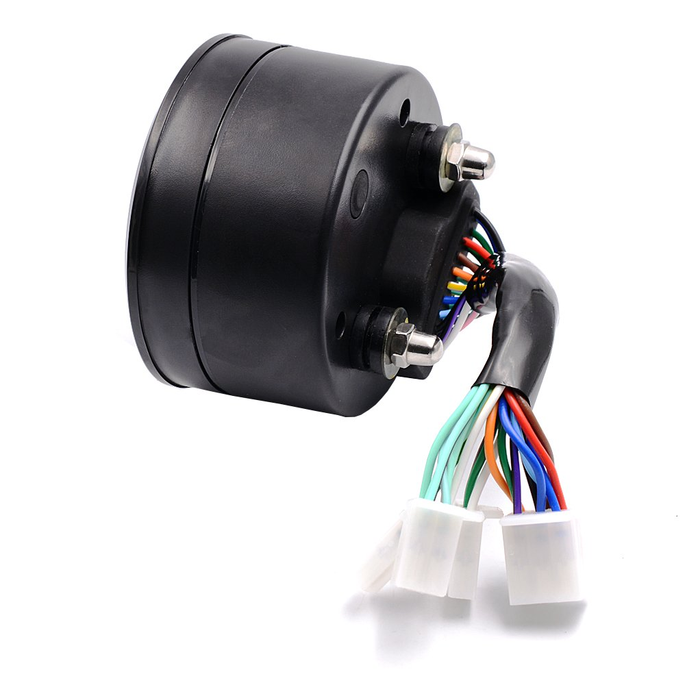 Romdink 12000RPM MPH LCD Moto Tachym/ètre Num/érique Compteur De Vitesse Odom/ètre LED Jauge de Carburant R/étro-/Éclairage pour 4 Temps 1 2 4 Cylindres Moto Size 9.5x9.5x5.5 cm