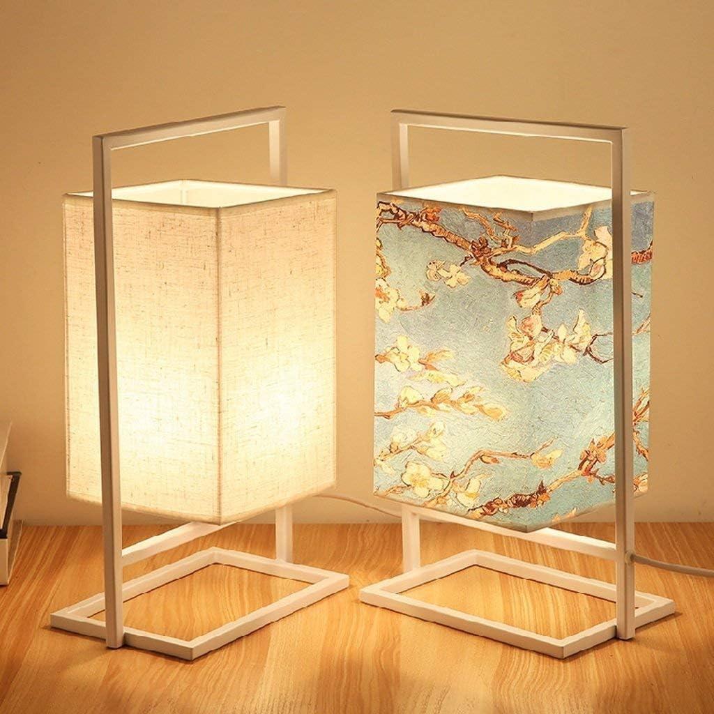 Lámparas de mesa de hierro simple lámpara de cabecera rectangular tela de la cortina de lámpara de escritorio luz de la noche for el dormitorio Sala de estar Estudio compartida (Color :