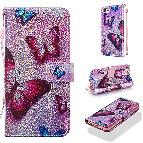 Case for iPhone 6S/6/7/8,Smooth PU Leather Wallet Case Bling Glitter Sparkle Flip Kickstand Carrying Case with Wrist Strap Magnetic Closure Card Slots Compatible with Apple iPhone 6S/6/7/8 -Butterfly (Lord Of The Rings Wallet Phone Case)