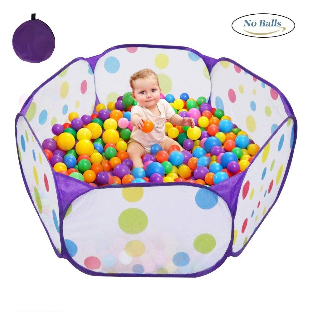 Kids Ball Pit, Karida Large Pop Up Toddler Ball Pits Tent for Toddlers, Children for Indoor Outdoor Baby Ball Pool Playpen with Zipper Storage Bag, Balls Not Included (Purple)