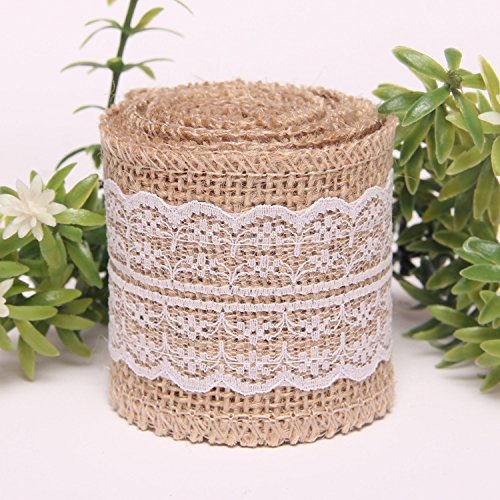 2M Natural Jute Burlap Ribbon with Lace for Craft Rustic Wedding Belt Strap Craft Jute Hessian