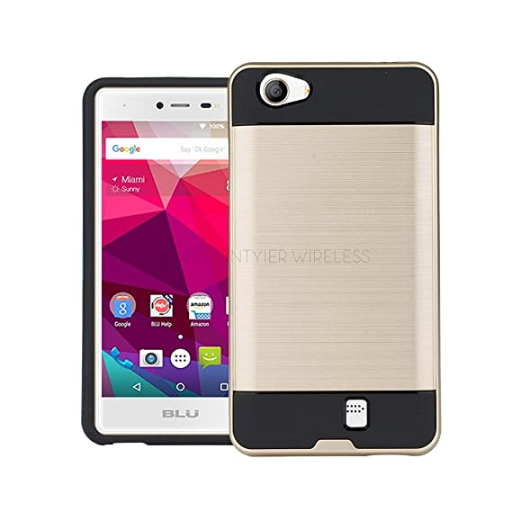 hot sale online 49f6d 35784 BLU Studio X5 / Neo X case, {NFW} Tough Hybrid + Dual Layer Shockproof Drop  Protection Metallic Brushed Case Cover + Screen Protector for BLU Neo X ...