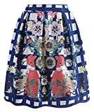 AOVCL Women Floral Skirt Vintage Flared Style A-line Skirts