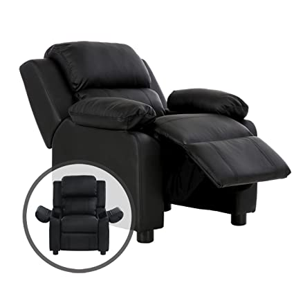 Costzon Kids Recliner Sofa, Deluxe Padded Armchair Headrest With Storage  Arms (Black)