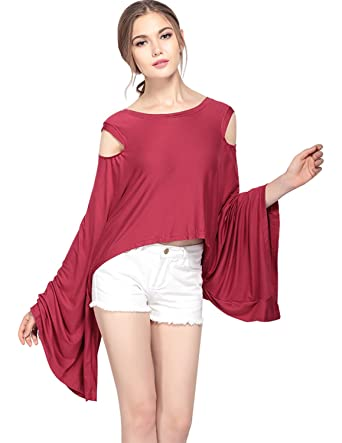 4beb4f0f2fbb27 HaoDuoYi Womens High Low Bell Sleeve Cold Shoulder T Shirt at Amazon ...