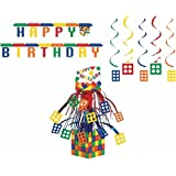 Block Party Decorations Pack: Centerpiece, Dizzy Danglers, and Jointed Banner