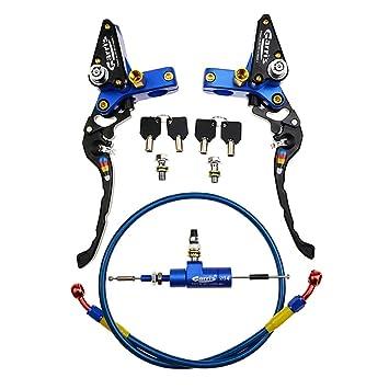 GOOFIT Maneta Embrague 22mm Hidraulico Moto Kit con M8 x 1.25mm Cilindro Maestro Aluminio CNC