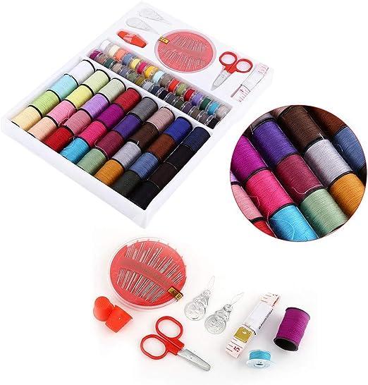 Cajas de Coser Estuches de Avíos para Coser Estuche con 64 Carretes de Costura Coloridos, Grifo de Medida, Tijeras, Dedalesazas, Agujas para Costura: Amazon.es: Hogar