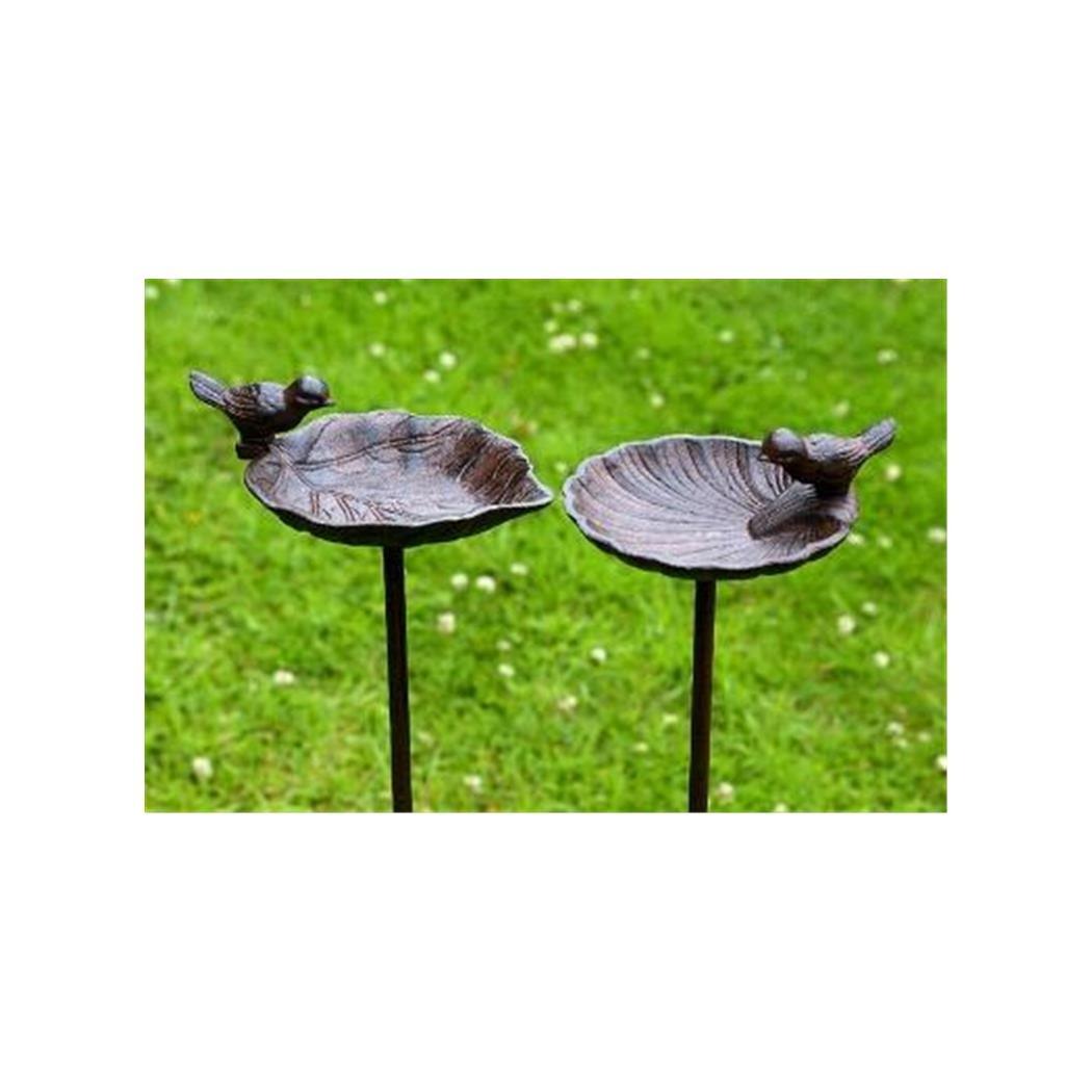 Vogeltränke, Vogelbad auf Gartenstab, aus Gusseisen, 2-fach sortiert, 1 Stück, 20 cm x 14 cm x 98 cm Vogeltränke 1 Stück Boltze Gruppe