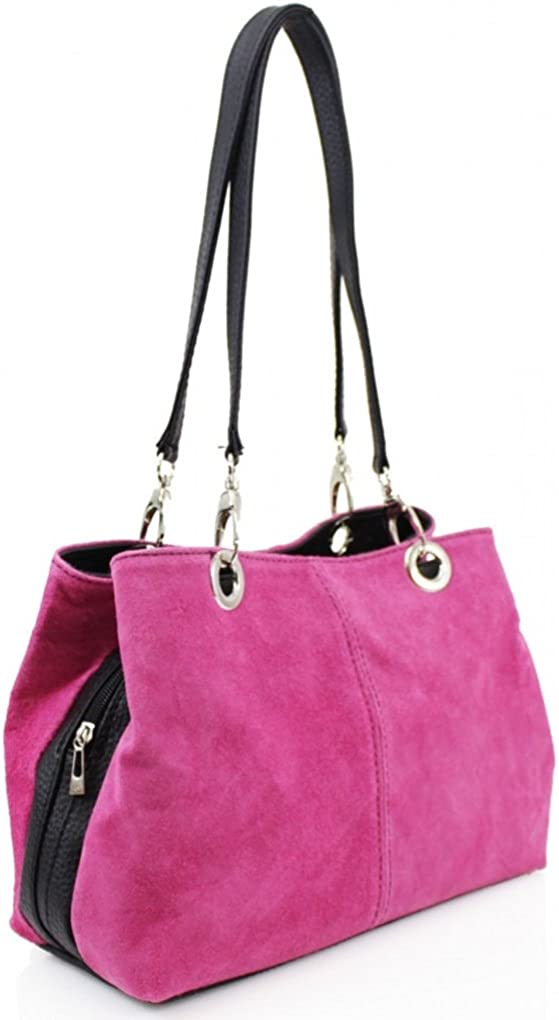 LeahWard Womens Real Suede Leather Shoulder Bag With Three Zip Pockets