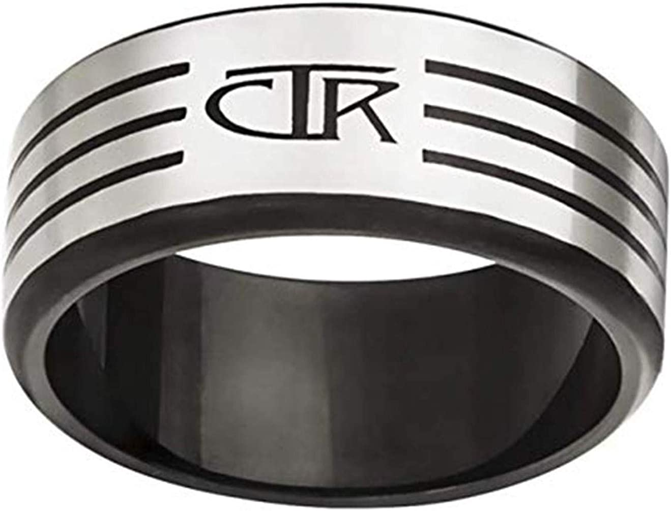 One Moment In Time J171 LDS Mens CTR Ring Slice Stainless Steel Stainless Steel Size 8-13