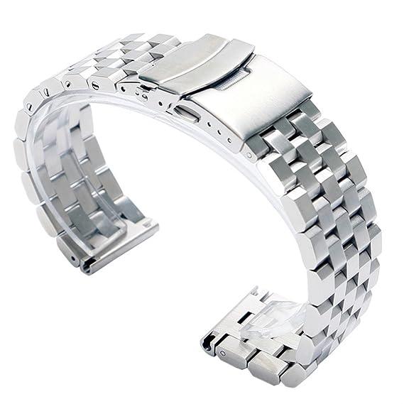YISUYA - Correa de acero inoxidable para reloj de pulsera para hombre, ancho de 22 mm, con cierre doble de hebilla, color plateado: Amazon.es: Relojes