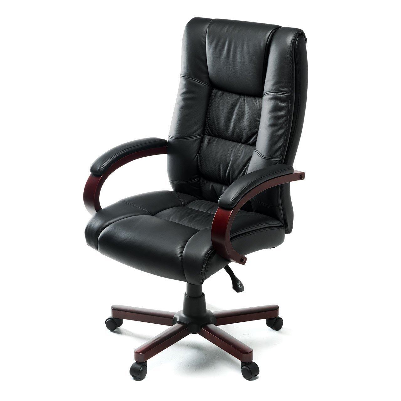 イーサプライ 本革椅子 プレジデントチェア エグゼクティブチェア キャスター付き ロッキング固定可能 ブラック EZ15-SNCL006   B071CZY8N6