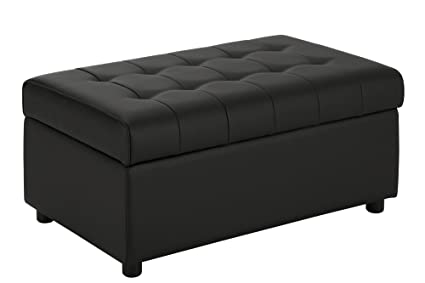 DHP Emily Rectangular Storage Ottoman, Modern Look With Tufted Design,  Lightweight, Black Faux