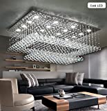 Cheap Siljoy Modern Contemporary Crystal Chandelier for Living Room Rectangular Flush Mount Ceiling Lighting Fixture, H14″xW36″xDepth24″, 16 Cool White LED Lights