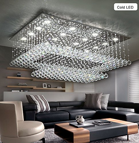 Siljoy Modern Contemporary Crystal Chandelier for Living Room Rectangular Flush Mount Ceiling Lighting Fixture, H14 xW36 xDepth24 , 16 Cool White LED Lights