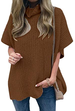 CBTLVSN Women Short Sleeve Turtleneck Casual Knitted Loose Pullover Sweaters  Brown S 0645476e7
