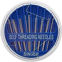 SINGER 00290 Agujas de coser a mano de auto-enhebrado, surtidas, 15 unidades