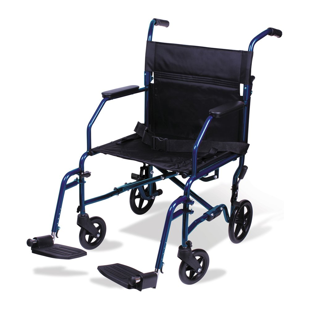 Carex 19-inch Transport Wheelchair, Folding Transport Chair with Foot Rests, Foldable for Travel and Storage