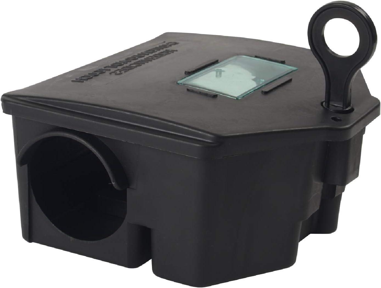 Gardigo 62340 - Estación de Cebo y Trampa Carnada para Ratas Ratones Roedores; Caja cebadera con Llave para Poner Cebo venenoso; Protección para Niños y Mascotas