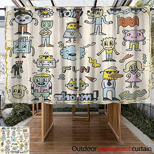 (Outdoor Curtains for Patio Sheer Funny Wacky Doodle Characters Set Vintage Texture Vector Illustration W63 x L72)