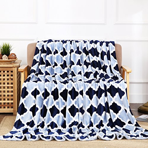 All American Collection New Super Soft Printed Throw Blanket (Throw Size, Navy/L.Blue Trellis) (Collection Blanket 60x50)