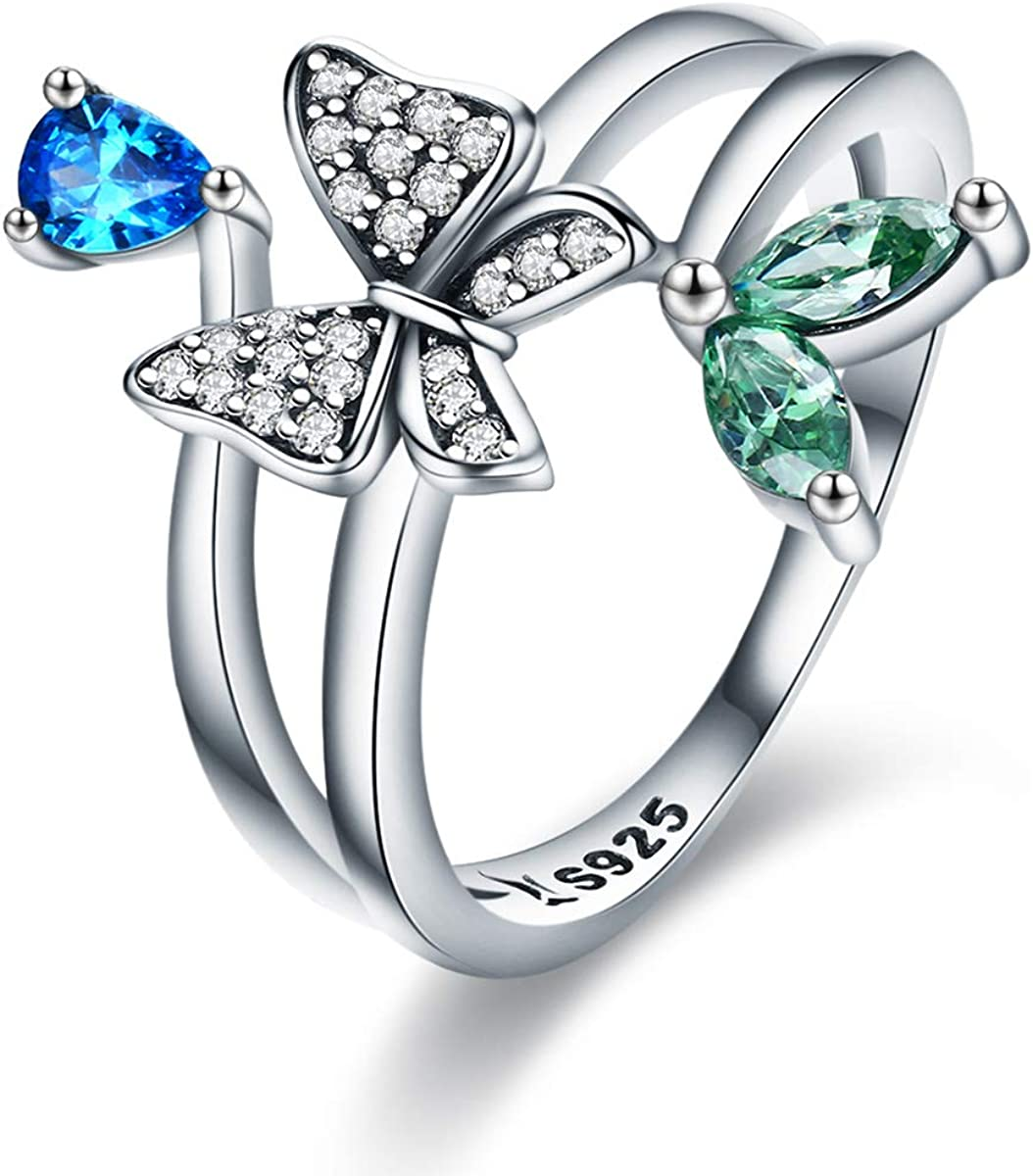 Colorful CZ The Kiss Butterfly of Spring 925 Sterling Silver Ring