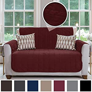 Gorilla Grip Original Velvet Slip Resistant Luxury Loveseat Slipcover Protector, Seat Width Up to 54 Inch Patent Pending, 2 Inch Straps, Hook, Sofa Furniture Cover for Pets, Kids, Love Seat, Merlot