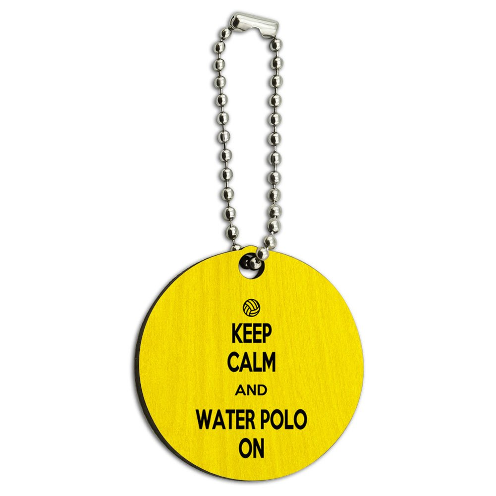 Keep Calm And Water Polo On Sports Wood Wooden Round Key Chain