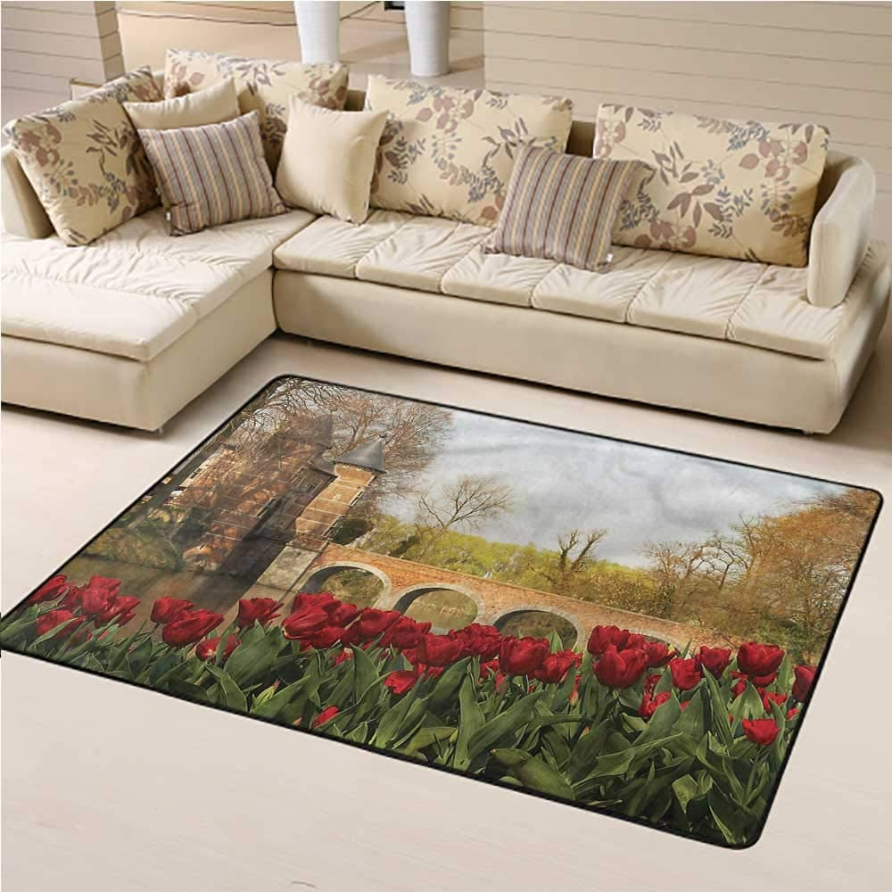 Outdoor Rug Garden for Boys and Girl Room Tulips and Historic Bridge 3' x 5' Rectangle