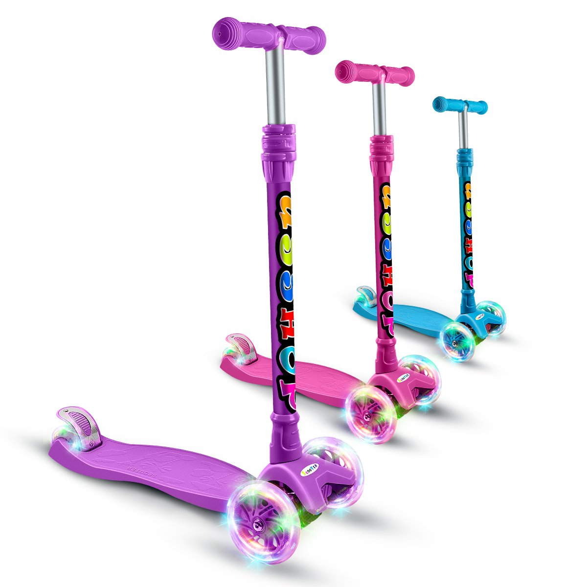 OUTON Kick Scooter for Kids 3 Wheel Scooter Lean to Steer 4 Adjustable Height Glider Ride On PU Flashing Wheels for Children 3-12 Year Old All Parts 10 Years Warranty Purple