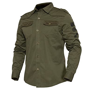 fc7e1c012fc9 MSMIRROR Men Military Style Shirt Slim Long Sleeve Shirt Tactical Cotton  Camouflage Shirt Army Green Asian
