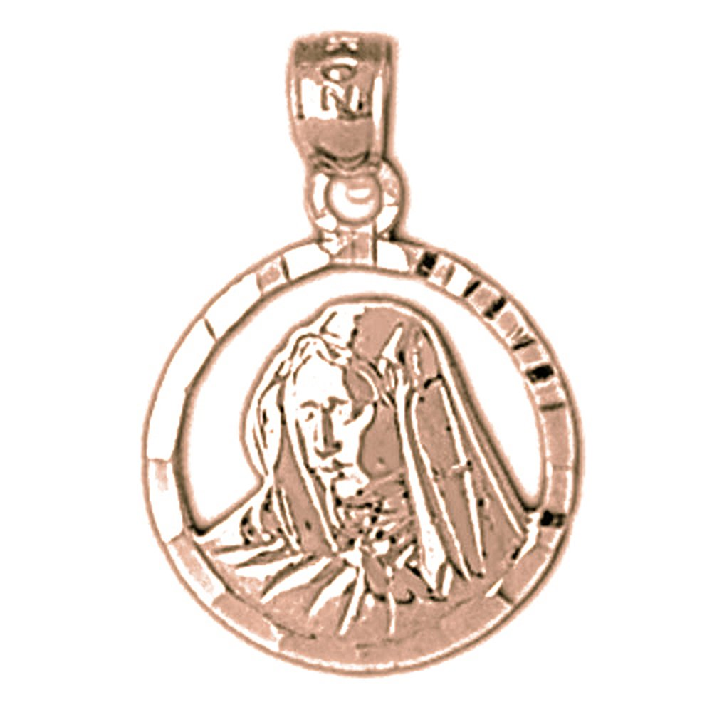 Rose Gold-plated Silver 21mm Mother Mary Pendant